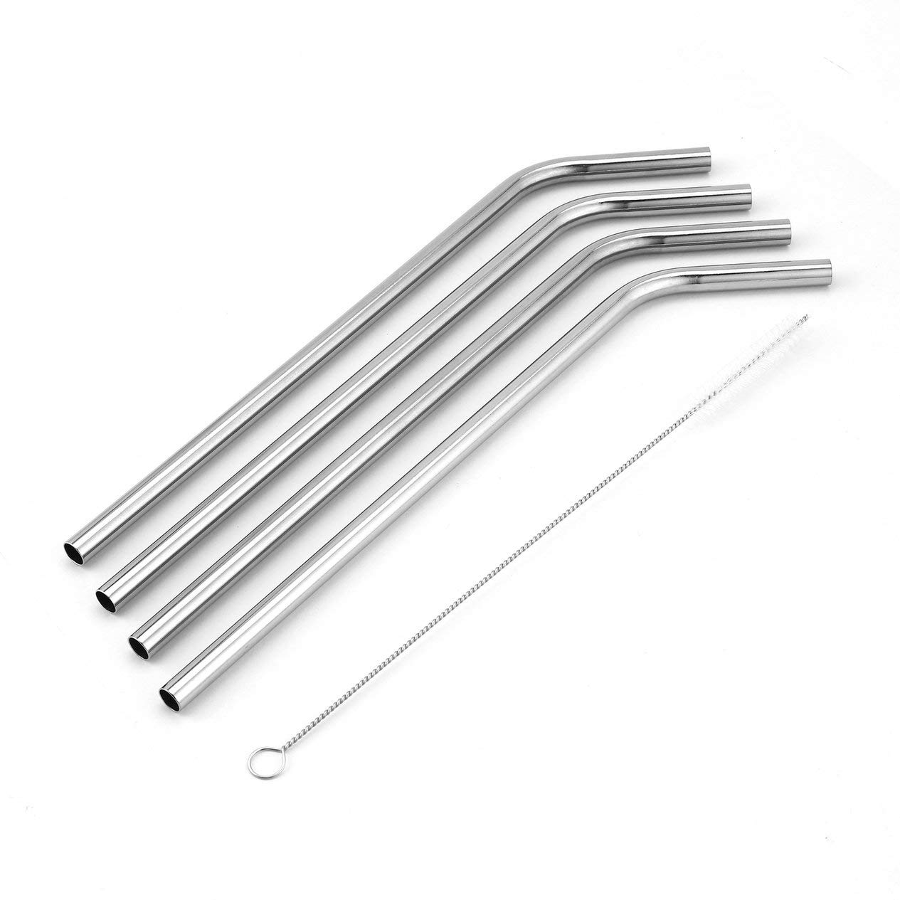 Bent Stainless Straw 4pcs Bent Straw Reusable Bent Stainless Steel Straws Set Metal Straw Cocktail Drinking Straw for Party Bar Home