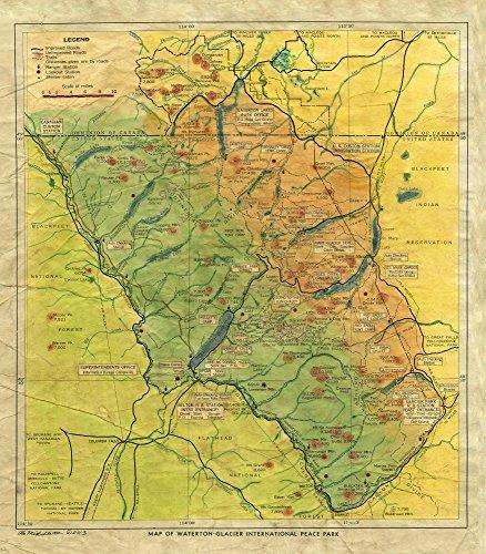 045 Glacier National Park Montana 1935 vintage historic antique map poster print