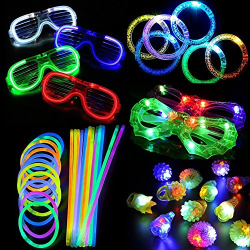 Bumpy Glass (ARDUX 74pcs/Set LED Party Accessories Toy for Party with 12pcs LED Flashing Bumpy Rings, 6pcs LED Bubble Bracelets, 6pcs LED Glasses and 50pcs LED Glow Sticks)
