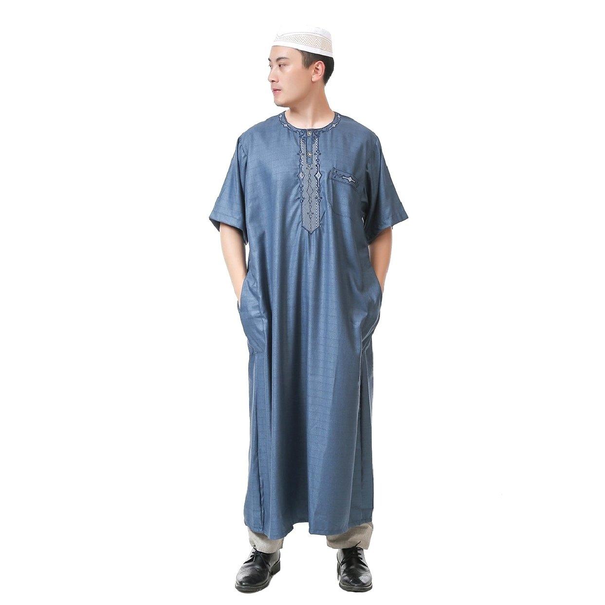 SportsX Mens Short-Sleeve Middle East Cotton Muslim Thobes Dishdasha Dark Blue 58