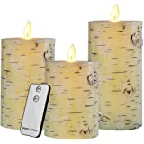 """Flameless LED Candles Flickering Birch Bark Unscented Pillar 100 Hours Moving Flame 4"""" 5"""" 6"""" Set of 3 Real Wax Battery Operated with Timer and Remote Control"""