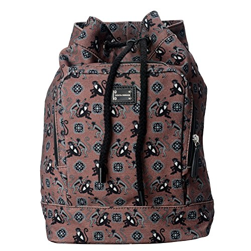 Dolce & Gabbana Multi-Color Monkey Print Women's Drawstring Backpack Bag