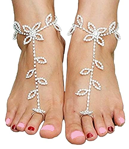 a1bb556198e4e8 Image Unavailable. Image not available for. Color  1 Pair Women s Foot  Chain Barefoot Sandals Beach Wedding Jewelry Anklet with Rhinestone Toe Ring