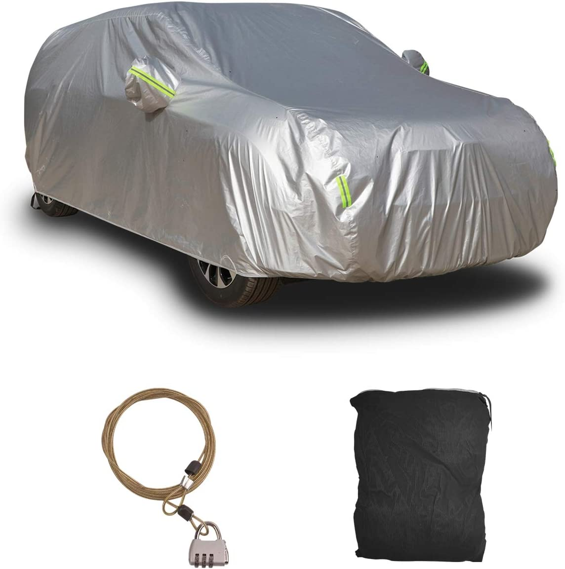 Shieldo Basic Car Cover with Buid-in Storage Bag Door Zipper Windproof Straps and Buckles 100/% Waterproof All Season Weather-Proof Fit 196-210 inches SUV