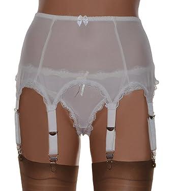 0310775cf 8 Strap Suspender Belt in Black White Power Mesh in UK Sizes 8-22   Amazon.co.uk  Clothing