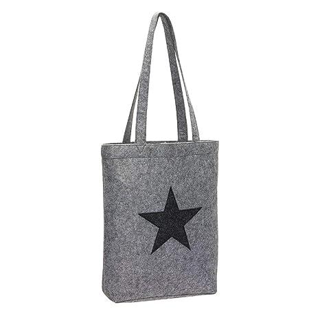 ffa03c397e0ce Einkaufstasche Filz Stoff-Tasche Shopper Filztasche Einkaufs-Korb grau mit  Stern