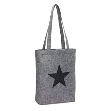 76a6933d2 Bolsa de la compra de tela de fieltro, shopper, modelo gris con estrella.:  Amazon.es: Equipaje