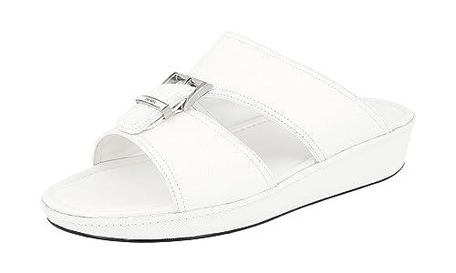 662d33a78390a5 Prada Men's 2X2938 053 F0009 White Saffiano Leather Sandals EU 6.5 (40,5)