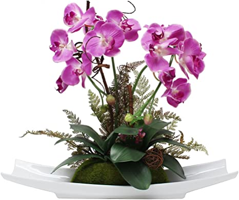 Amazon Com Artificial Orchid Flower Arrangement Silk Flower Pink Phalaenopsis 18 Inches Height For Home Decoration And Office Decoration Home Kitchen