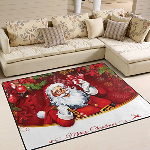 Naanle Winter Holiday Area Rug 5'x7', Christmas Santa Clause Polyester Area Rug Mat for Living Dining Dorm Room Bedroom Home Decorative