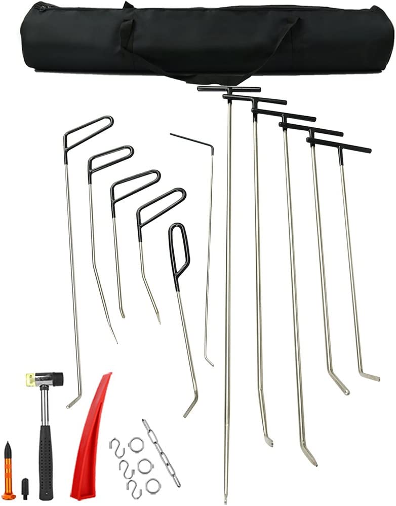 PDR Rods Crowbar Opening Tools Car Dent Paintless Repair Tool Kit Hand Set Rotated Handle Auto Body Dent Removal Tools PDR Set Package 1