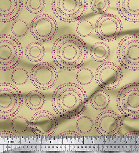 Voile Circle - Soimoi Beige Cotton Voile Fabric Dots & Circle Geometric Fabric Prints by Yard 56 Inch Wide