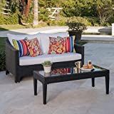 GDF Studio Charles Outdoor Black Wicker Loveseat and Table Combo with Water Resistant Cushions