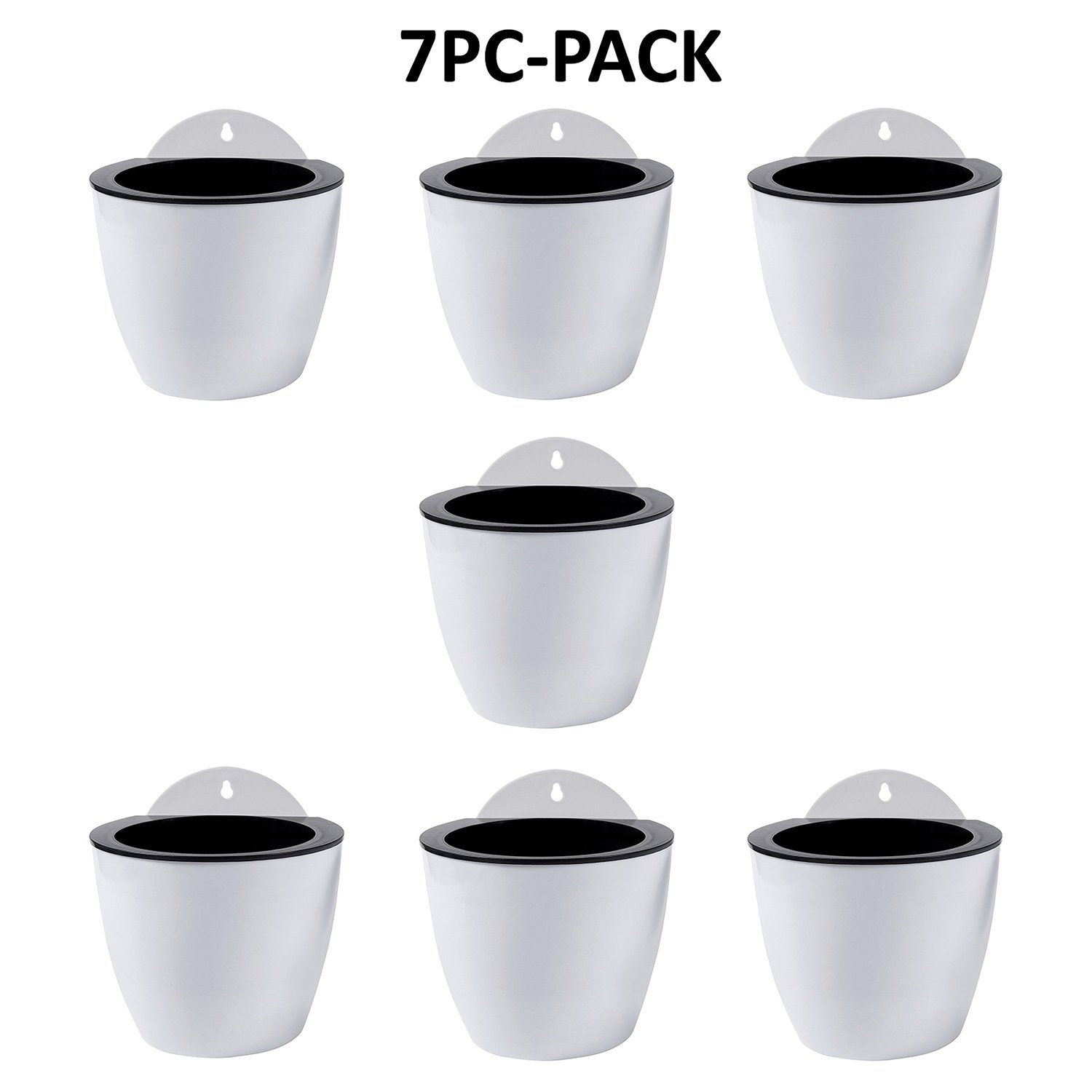 Self Watering Hanging Planters 7 Pack for Succulent Plants Flowers Indoor Outdoor Window Wall Plant Pots White Plastic Medium 5 Inch with Hooks by ShoppeWatch PL34 by ShoppeWatch