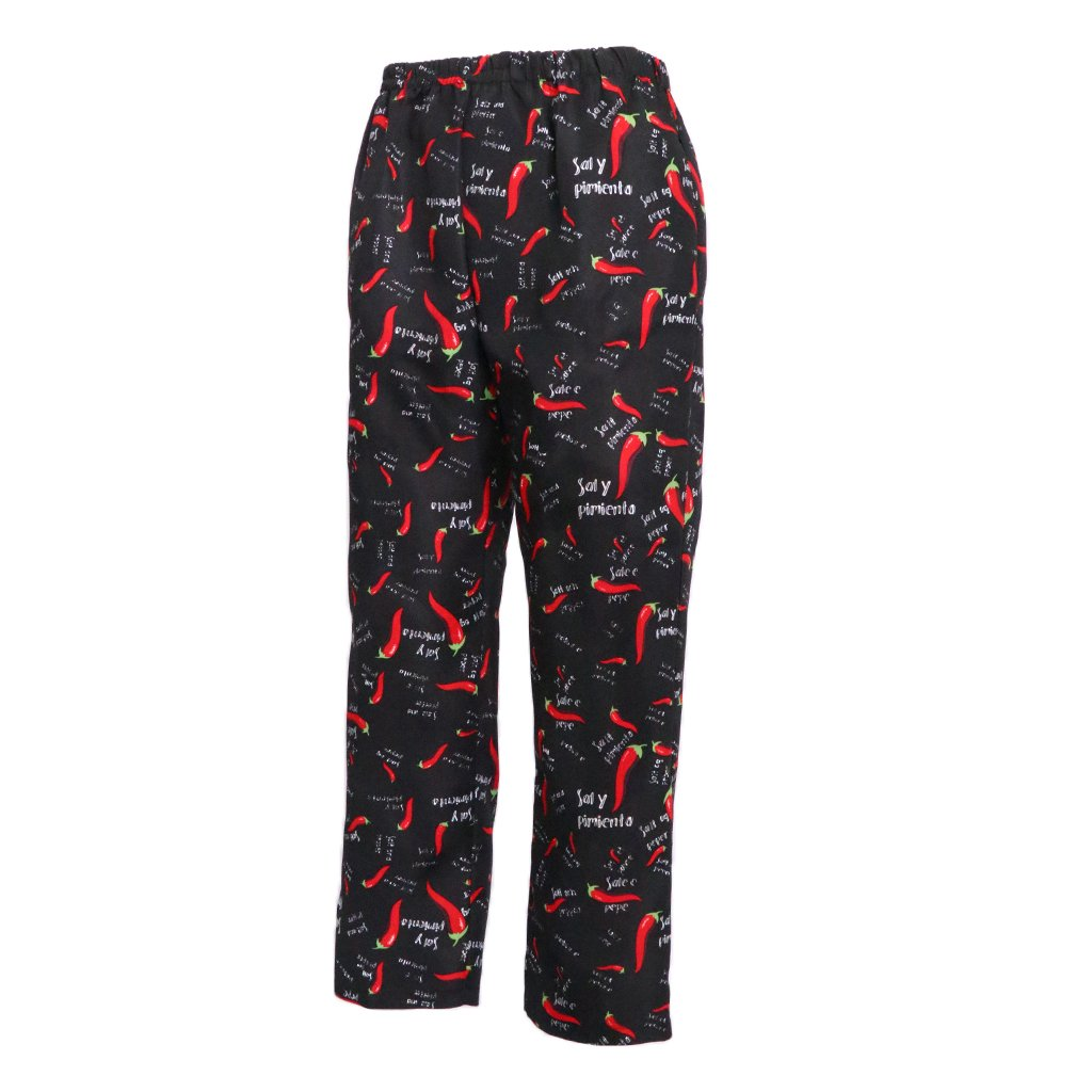 Unisex 2 Pieces Stylish Cotton Cook Chef Pants Waiter Baker Cafe Restaurant Chili and Cultery Print