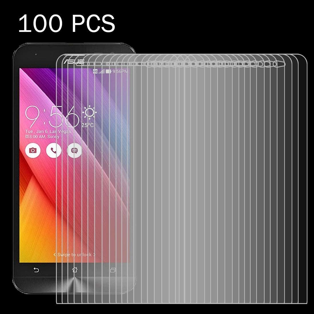 YINZHI Screen Protector Film ZE500KL 0.26mm 9H Surface Hardness 2.5D Explosion-Proof Tempered Glass Screen Film Clear 100 PCS for Asus Zenfone 2 Laser