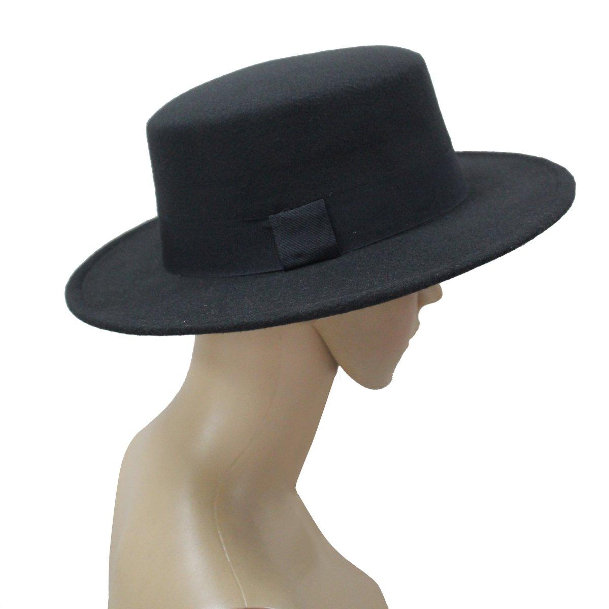 f5e1a71ba2648b NE Norboe Women's Brim Fedora Wool Flat Top Hat Church Derby Bowknot Cap