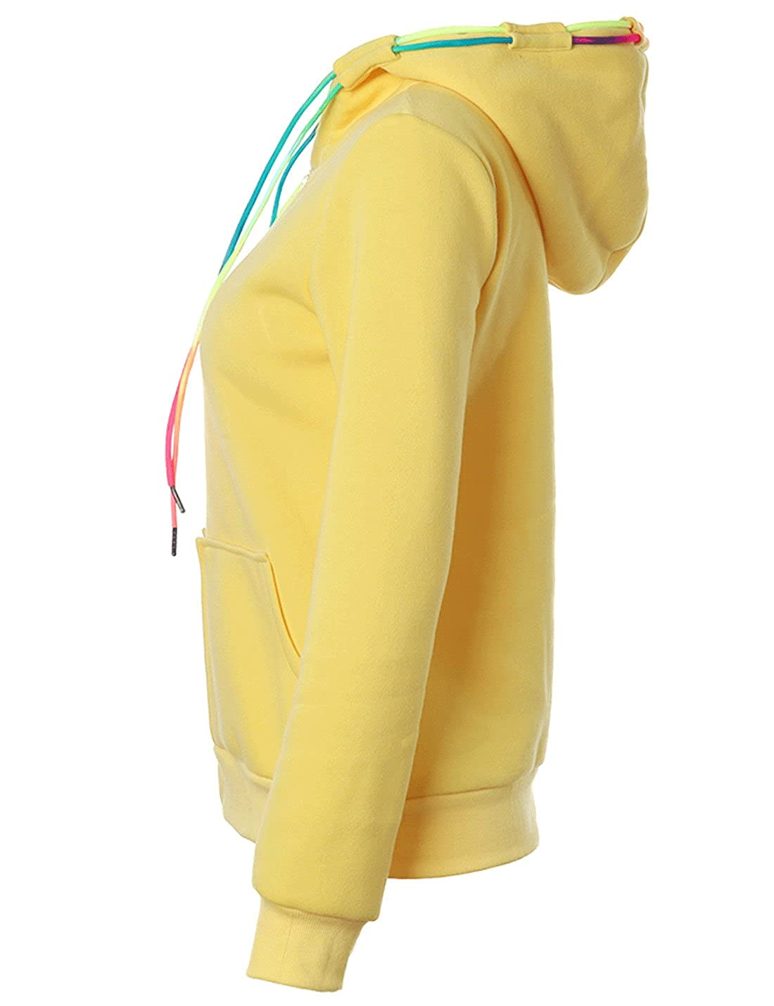 Zhusheng Womens Colorful Drawstring Full Zip Fleece Hoodie Jacket