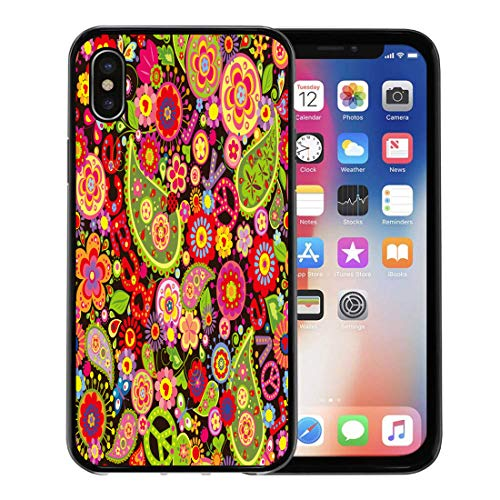 Semtomn Phone Case for Apple iPhone Xs case,Hippy Hippie Colorful Flower Power Pattern Paisley Sixties 1970S for iPhone X Case,Rubber Border Protective Case,Black