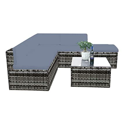 Dark mixed brown//grey Rattan wicker square coffee table outdoor garden furniture