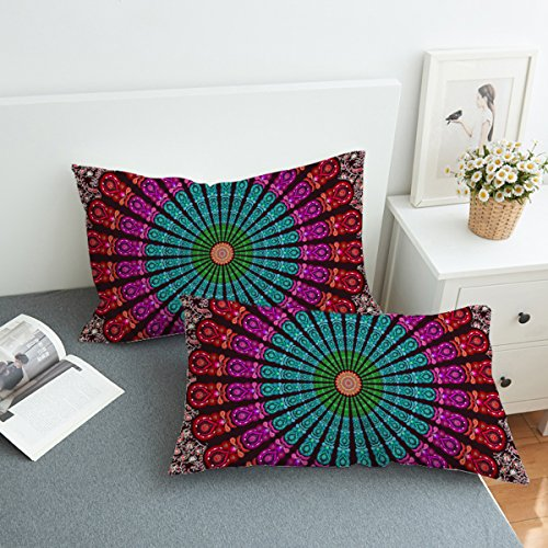 (Koongso Boho Mandala Pillow Cases 2 Pieces Floral Paisley Pattern Printed Pillowcases Indian Hippie Themed Square Bedclothes)