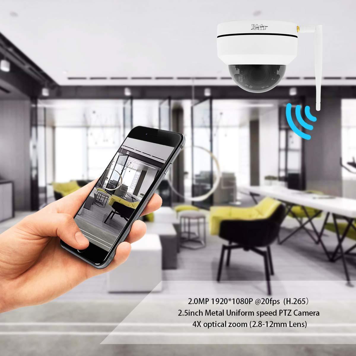 C/ámara IP WiFi 1080p HD C/ámara Domo PTZ Zoom /óptico 4X H.265 C/ámara de Seguridad para Interiores y Exteriores Ranura de Tarjeta SD incorporada Impermeable IP66