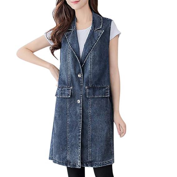 huge selection of 95f76 1753b Snowbuff Gilet di Jeans da Donna Cappotto Lungo Gilet di ...