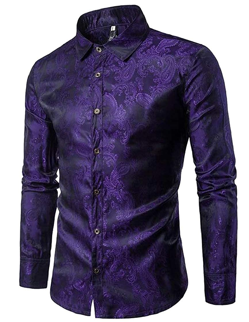 Joe Wenko Mens Classic Fit Thin Button Up Paisley Graphic Long Sleeve Fashion Shirts