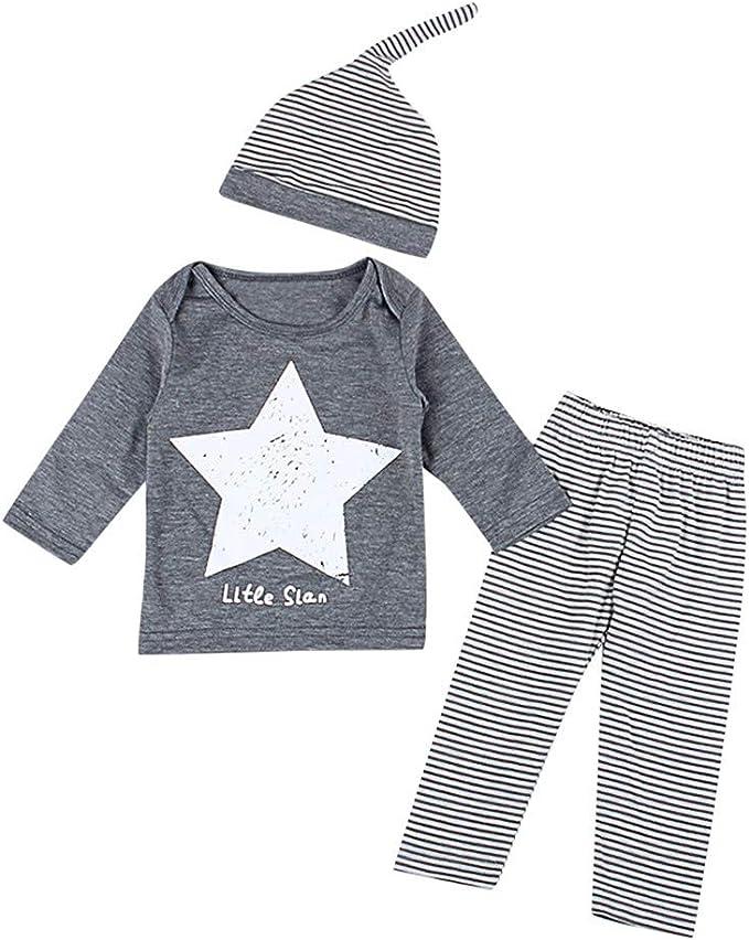 3PCS Newborn Baby Girl Boy Long Sleeve Cute Star T-shirt+Pant+Hat Outfits Cloth