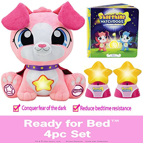 Watchdogs Girls Bedtime Sleep Toy Stuffed Animal Soothing Talking Dog, RC Kids LED Night-Lights Calming Story Book BONUS Coloring Pages & 3rd FREE ...