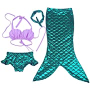 Moomintroll 4pcs Kids Girl's Fancy Cut Mermaid Tail Swimsuit Bikini Set for Swimming without Monofin (95-110cm ( 3-4Y ))