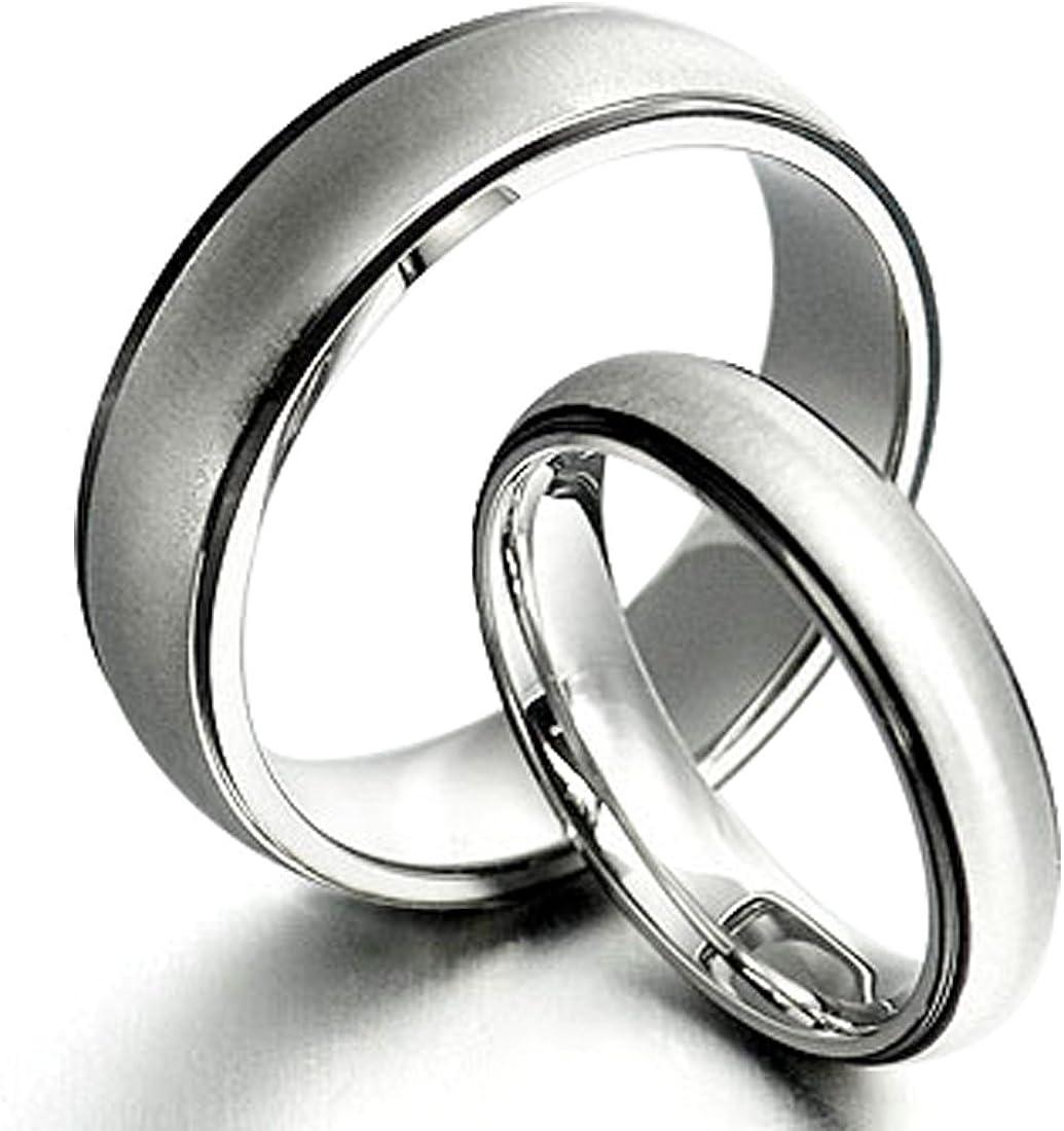 7 Women Ring Size Gemini Groom /& Bride Two Tone Black /& Silver Matt /& Polish Wedding Bands Matching Titanium Rings Set 6mm /& 4mm Width Men Ring Size 7
