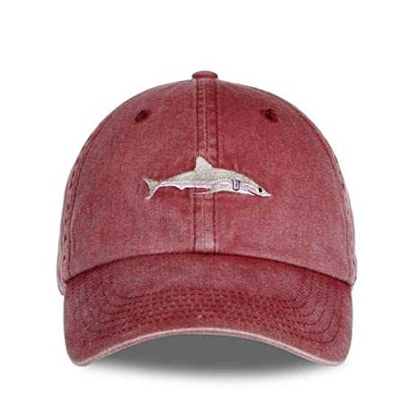 Washed Casquette Baseball caps Men Hats Shark Embroidery Dad Hat for Women Gorras Planas Snapback Bosco (01) at Amazon Mens Clothing store: