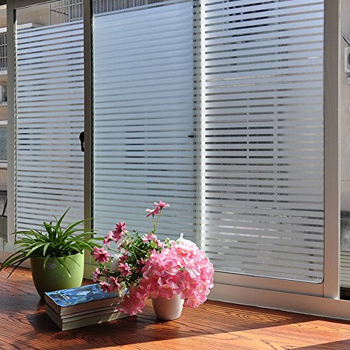 No Glue Static Decorative Films,Frosted Glass Film,Translucent Stripe Anti-Collision Waterproof Office Reusable Window Stickers-A 75x200cm(30x79inch)