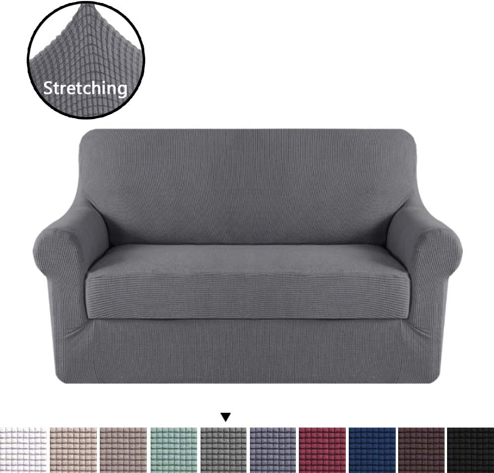 H.VERSAILTEX High Stretch 2 Piece Furniture Protector Loveseat Cover, Durable Spandex Stretch Fabric Super Soft Slipcover - Charcoal Gray, 2 Seater Loveseat Furniture Covers
