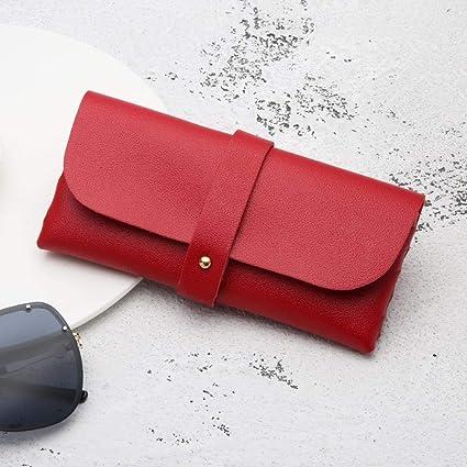 Estuches Red Soft Leather Pencil Pen Case Men Women Glasses ...
