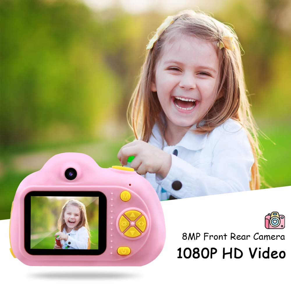 OMWay Best Gifts for 3-8 Year Old Girls, Kids Camera for Girls, Outdoor Toys for 4-7 Year Old Toddlers Boys Children,8MP HD Video Camera, Pink(32GB SD Card Included). by OMWay (Image #1)