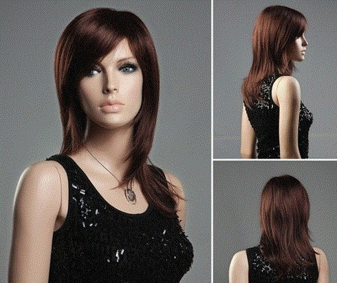 [Women's Medium & Long Bouffant Straight Hair Wig with Sided-Swept Bangs (Dark Brown) by Ozone48] (Red Bouffant Wig)