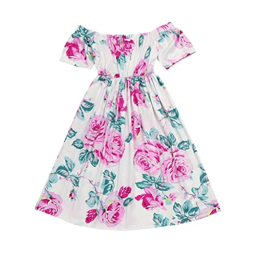 2e8e5b67a131 Goodtrade8 Toddler Baby Girl Ruffle Off Shoulder Princess Dress Kids Floral  Sundress Clothes Clearance (2T