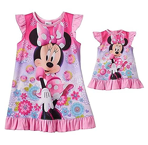 Amazon.com: Disney Minnie Mouse Girl\'s and Doll Nightgown, Gown Set ...