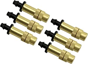 ZRM&E 6pcs Copper Nozzle Horticultural Sprinkler 4/7mm Barbed Atomizing Micro Sprinkler for Lawn Irrigation in Greenhouse