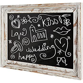 shabby chic wall mounted white washed wood framed chalkboard white - White Framed Chalkboard