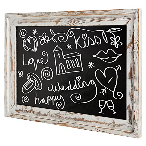 (Shabby Chic Wall Mounted White Washed Wood Framed Chalkboard, White)