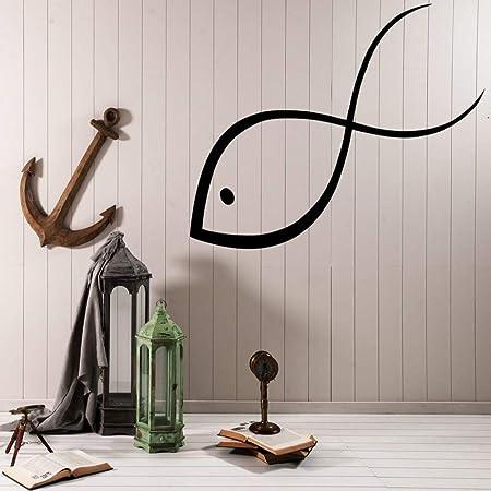 JXWH Vinilo Grande Etiqueta de la Pared pez pequeño Alegre Divertido Curioso Curioso Impermeable decoración del hogar Arte de la Pared calcomanía Sala de Estar 56x72 cm: Amazon.es: Hogar