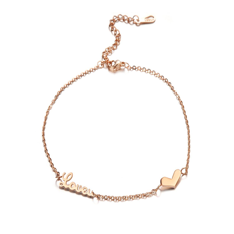 Mmiiss Love Letter Charm Anklet Bracelet for Women Rose Gold Love U Ankle Bracelet for Casual Adjustable Size (love u)