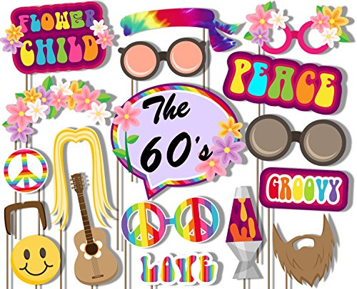 60's Hippie Photo Booth Props Kit - 20 Pack Party Camera Props Fully - Hippie Decade