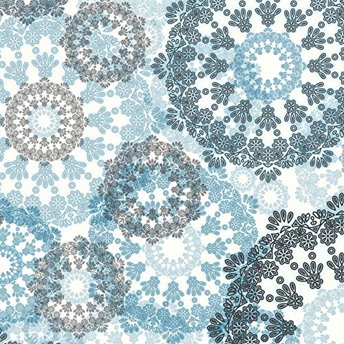[3 Sheets + Free Ribbon] Silver Foil Mandala Snowflake Wreath Christmas Gift Wrapping Paper 27