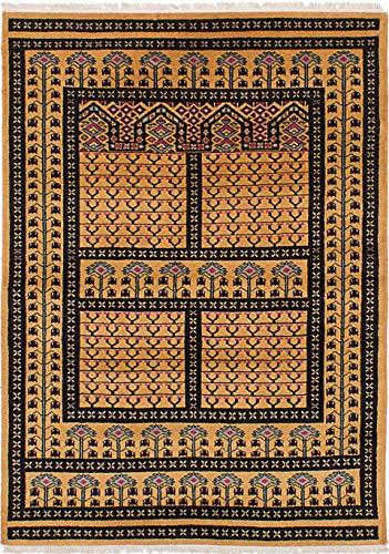 eCarpet Gallery Hand-Knotted | Area Rug for Living Room, Bedroom | Home Decor Rug | 100% Wool | Peshawar Bokhara Traditional Orange Rug 4