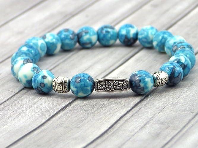 e7da876ec806 Pulsera de mujer vintage tibetana en cuentas de jade teñidas de azul y  púrpura