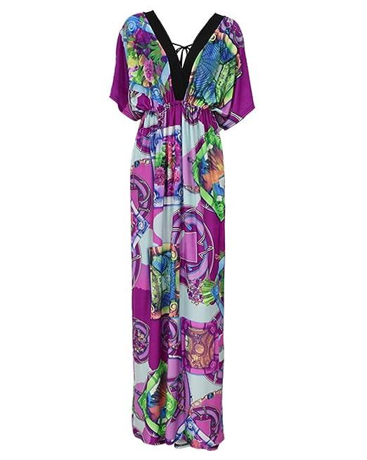 GladiolusA Mujeres Vestidos De Fiesta Largos Tallas Grandes Bohemio Impreso Vestido Largo Manga Corta Vestido De